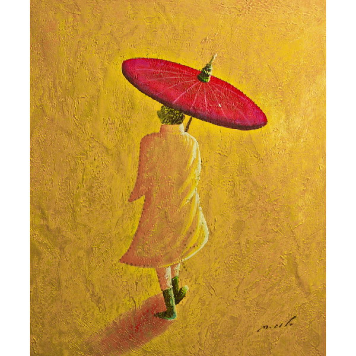 """Картина """"Человек с зонтом"""", холст, масло, 50х60см"""