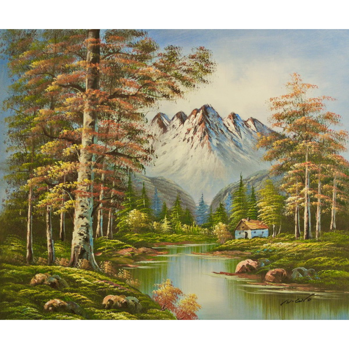 """Картина """"Домик у реки"""", холмт, масло, 50х60см"""
