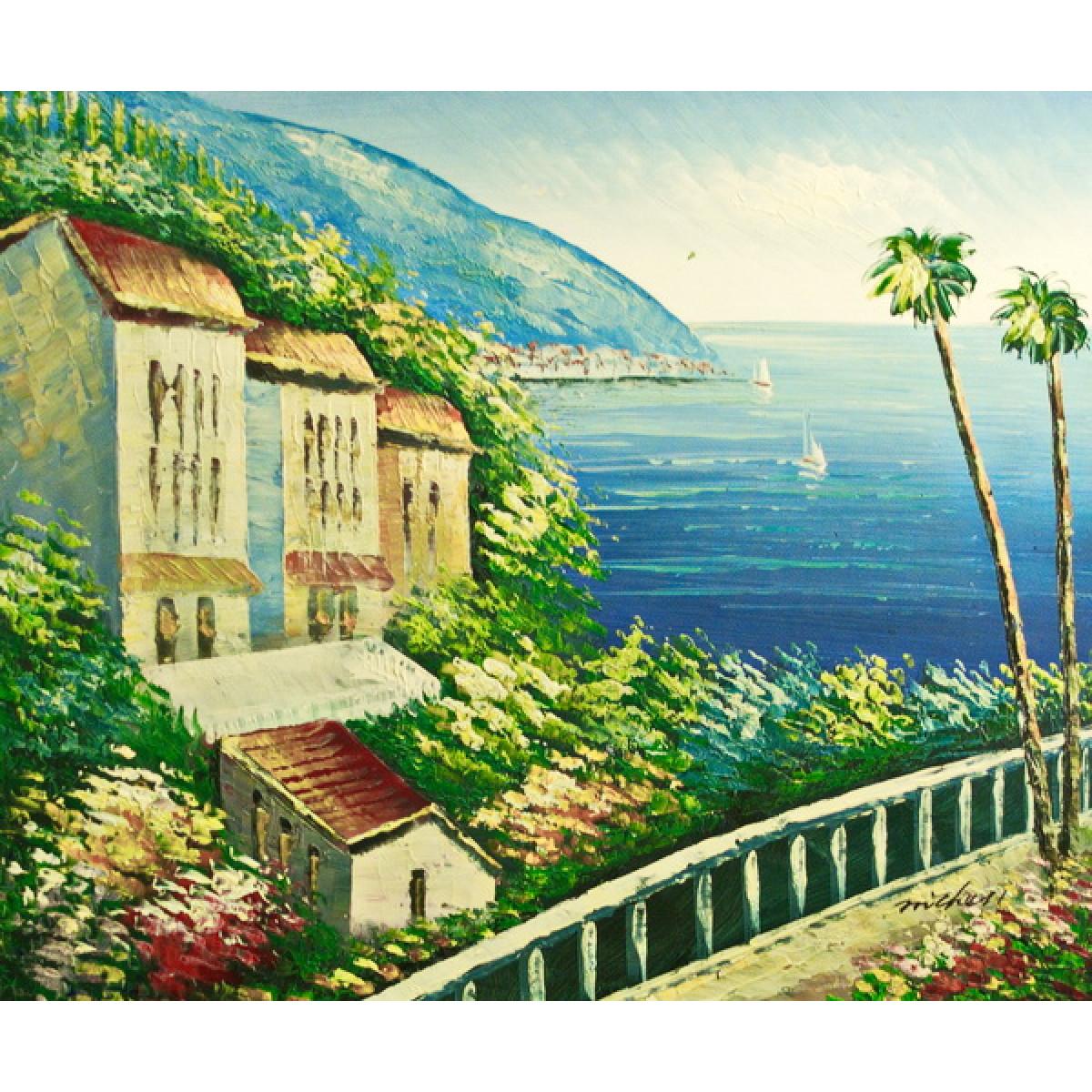 "Картина""Городок на берегу"", холст, масло, 50х60см"