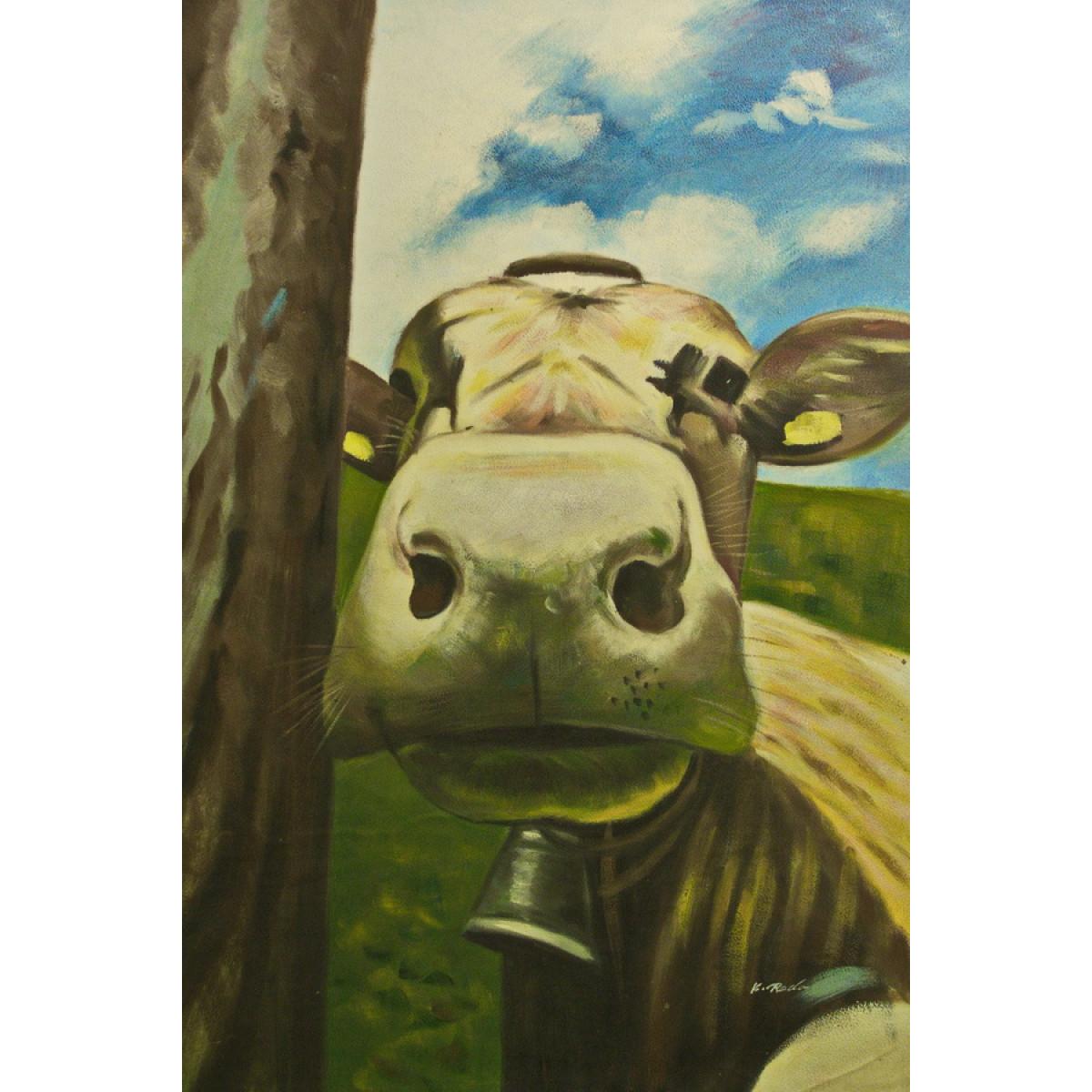 "Картина ""Портрет коровы"", холст, масло, 60х90см"