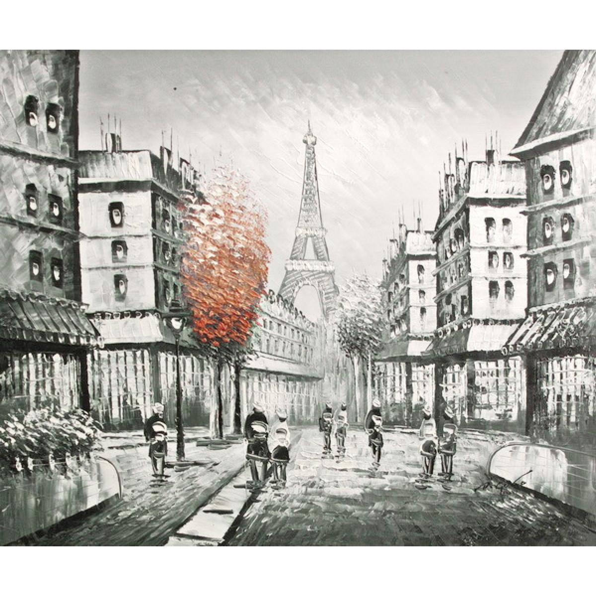 """Картина """"Красное дерево в черном Париже"""" , 50x60см"""