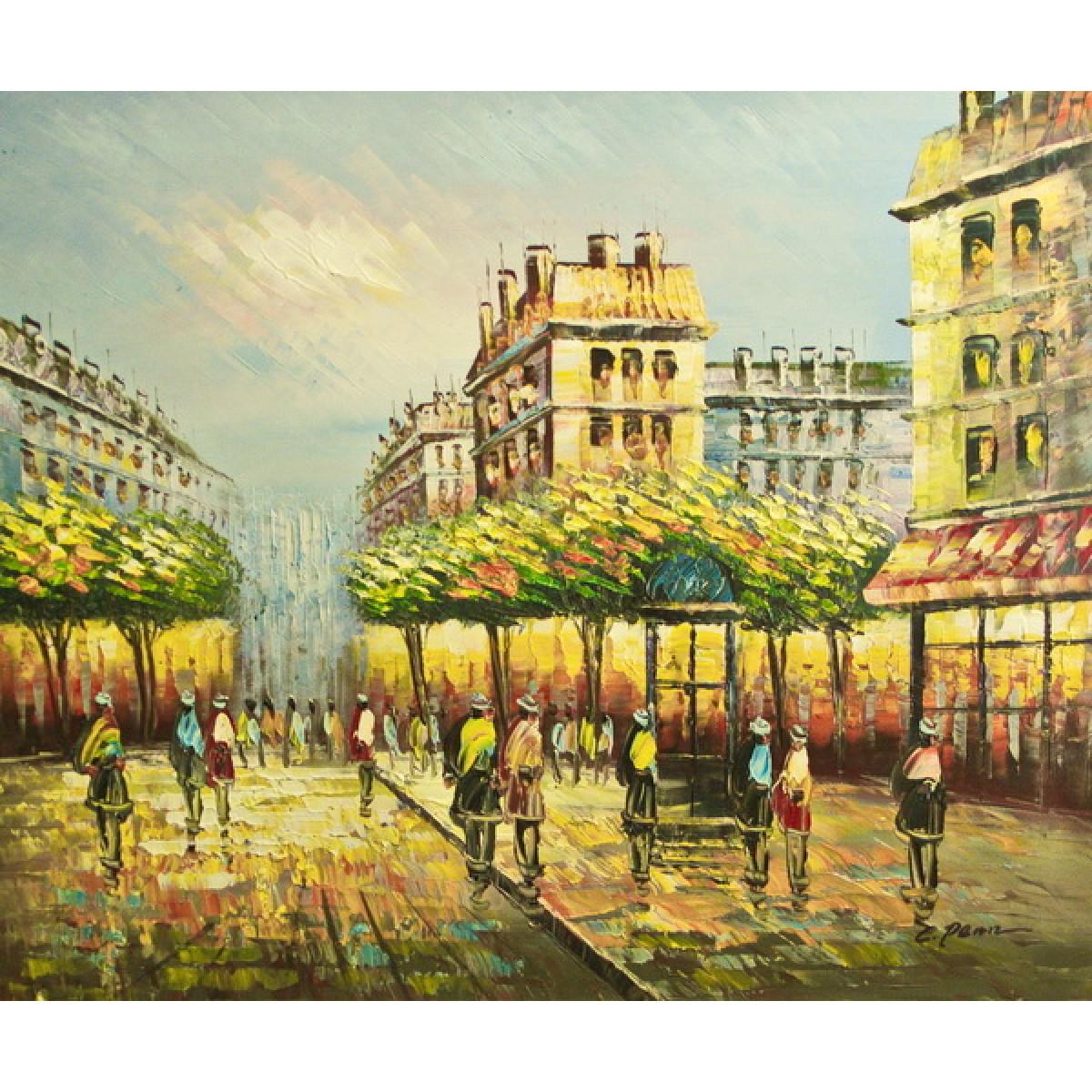 "Картина ""Парижская прогулка"", холст, масло, 50x60см"