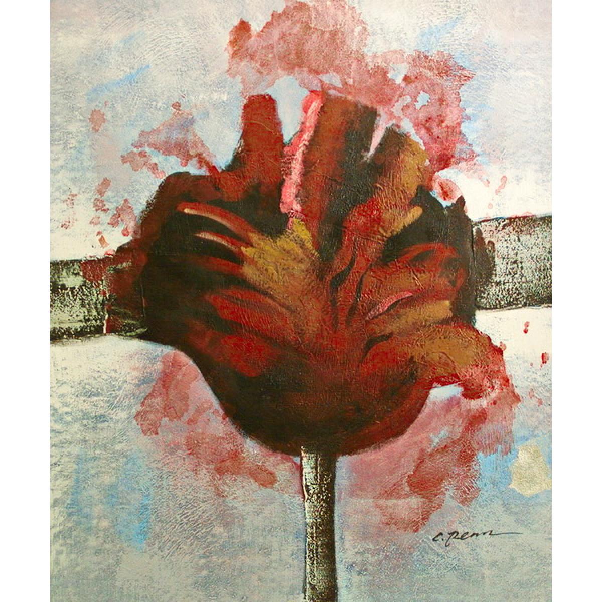 "Картина""Взорванные цветы. Красный"", холст, масло, 50х60см"