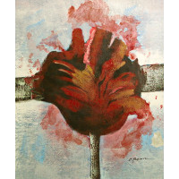 """Взорванные цветы. Красный"", 50х60см"