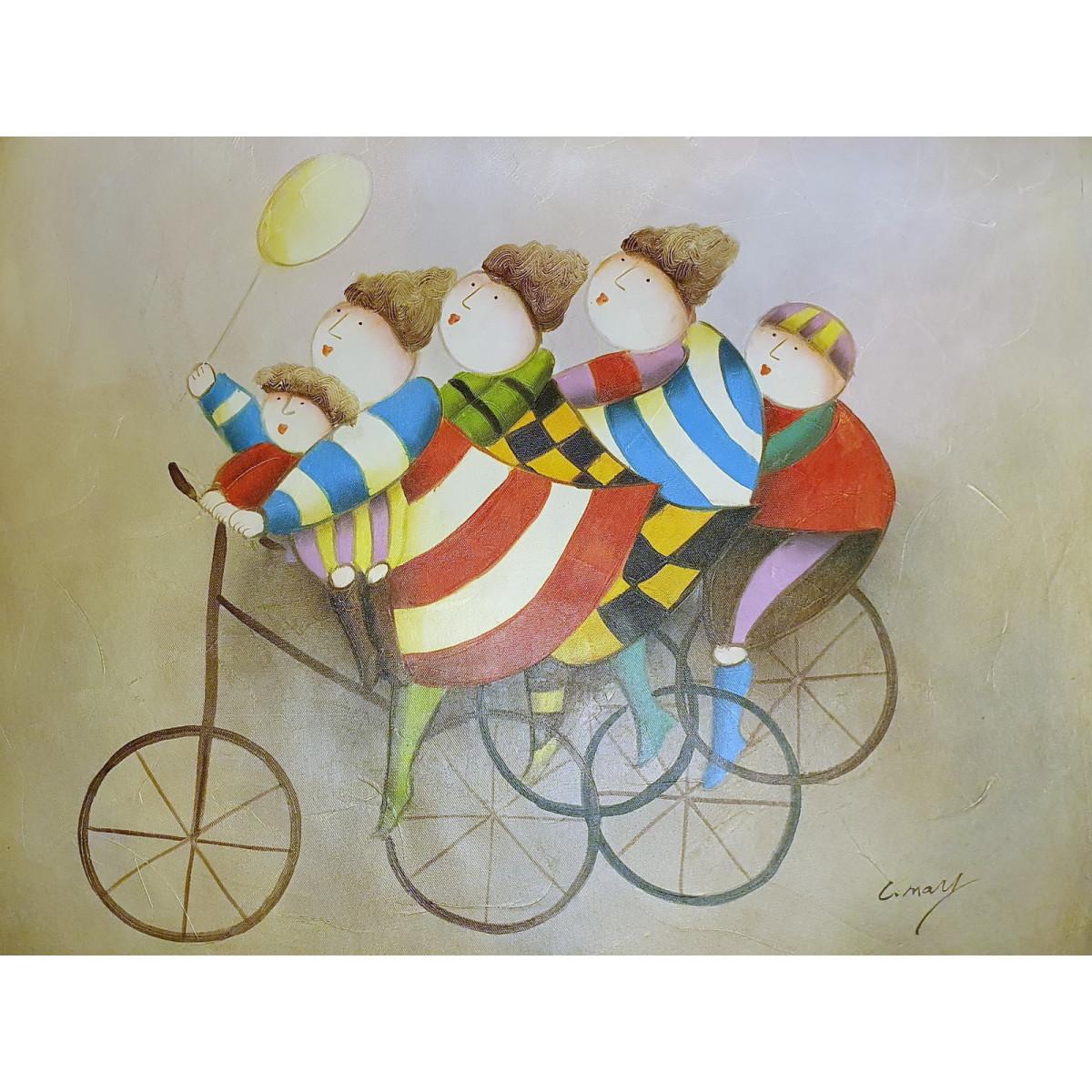 """Картина """"Дети на велосипеде"""", холст, масло, 50х60см"""