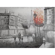 "Картина ""Париж. Красное дерево. Фонарь"" , 50x60см"