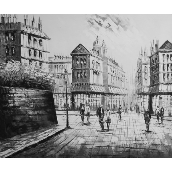 "Картина ""Черно-белый город 2"", холст, масло, 50х60см"