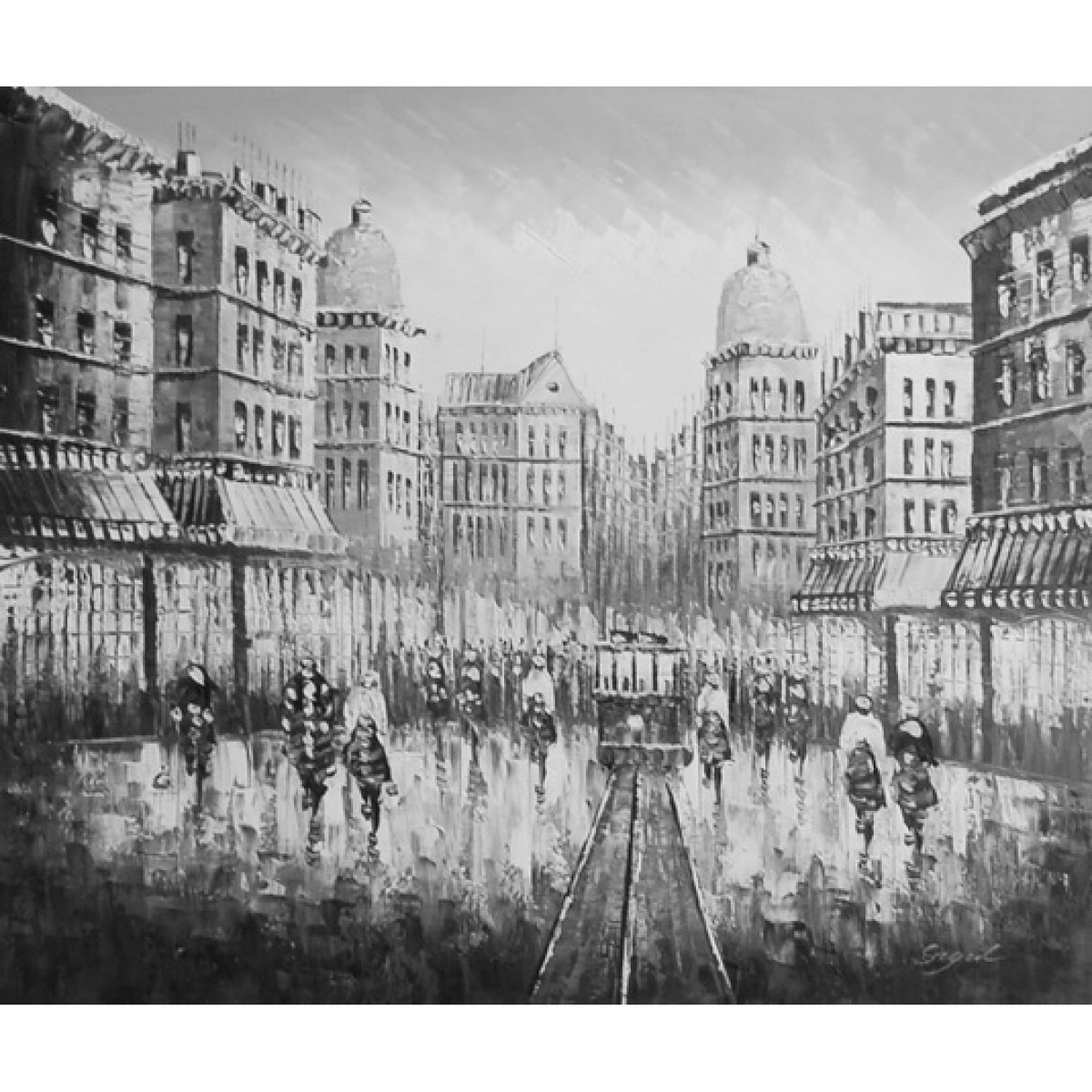 "Картина ""Черно-белый город"", холст, масло, 50х60см"