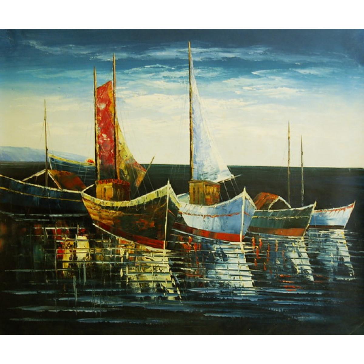 "Картина ""Лодки 4"", холст, масло, 50х60см"