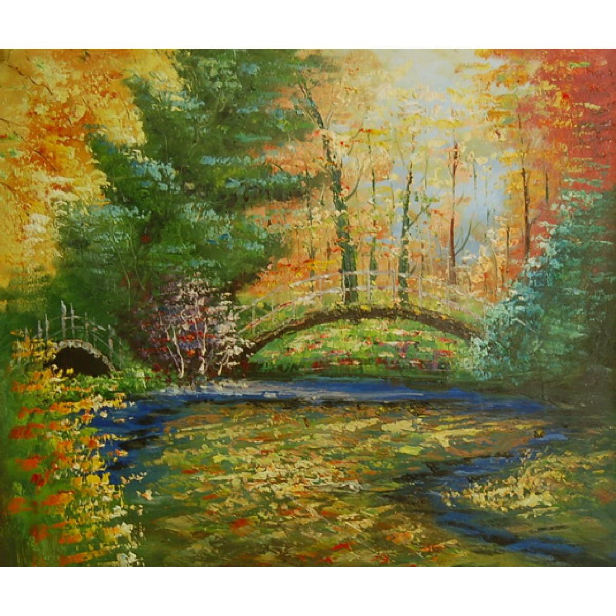 """Картина """"Мост у пруда"""", холст, масло, 50х60"""