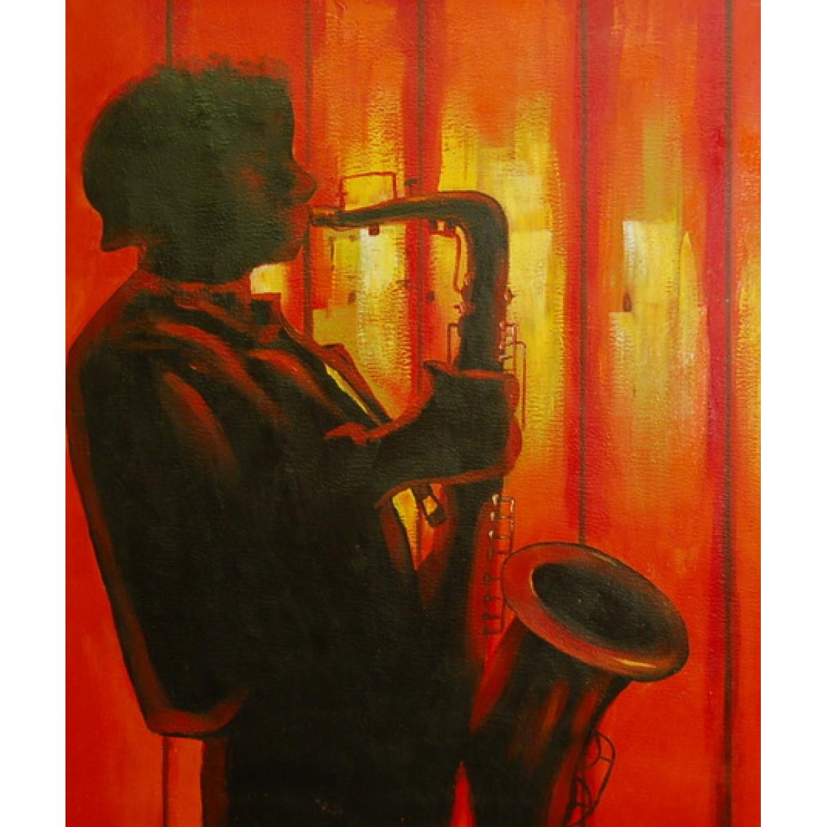 "Картина ""Саксофонист"", холст, масло, 50х60см"