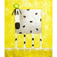 "Картина ""Собака с яблоком"" , холст, масло, 50x60см"