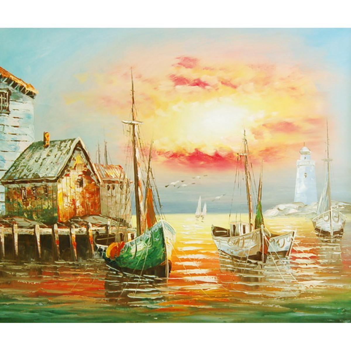 """Картина """"Закат в бухте"""", холст, масло, 50х60см"""