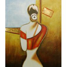 "Картина ""Абстракция Девушка у окна"", холст, масло, 50x60см"