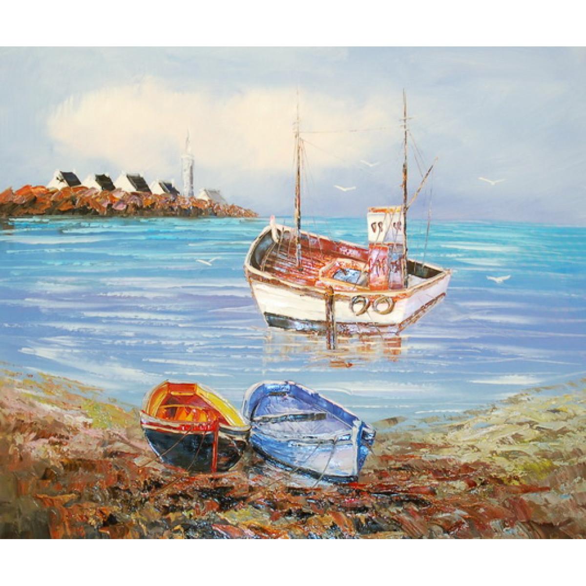 """Картина """"Берег и лодки"""" холст, масло, 50х60см"""