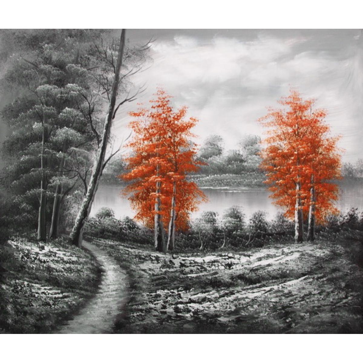 """Картина""""Пейзаж с красными деревьями"""" , холст, масло, 50х60см"""