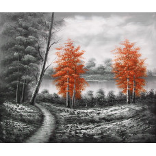 """Картина """"Пейзаж с красными деревьями"""" , холст, масло, 50х60см"""