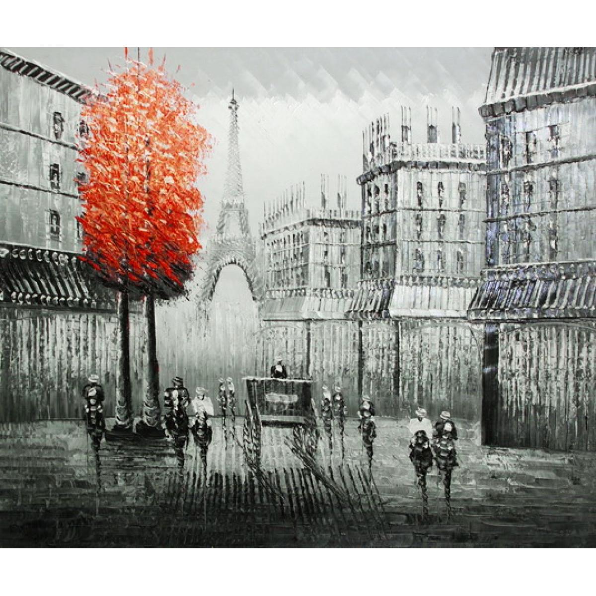 """Картина """"Париж. Красное дерево. Карета"""", холст, масло, 50х60см"""