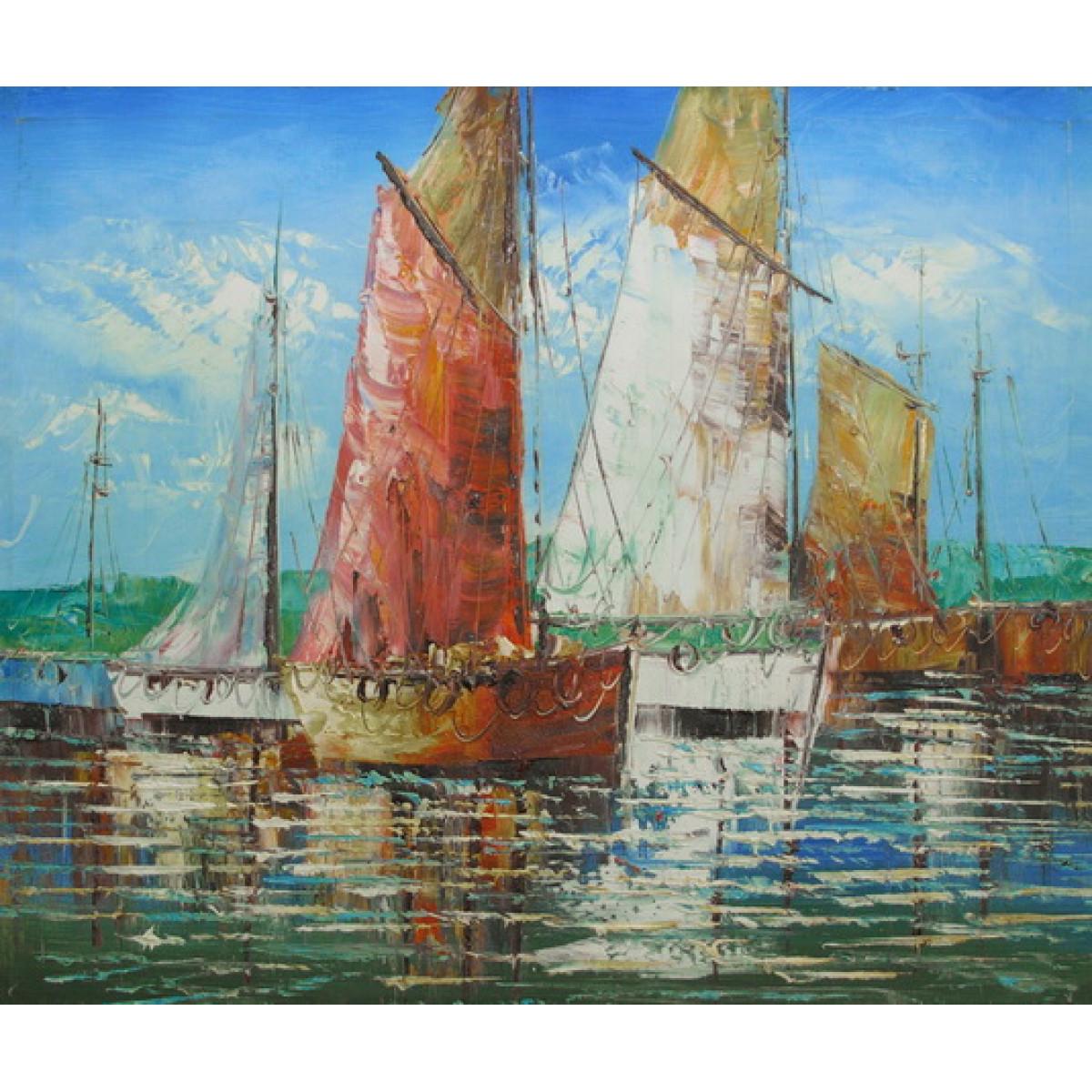"Картина ""Лодки 3"", холст, масло, 50х60см"