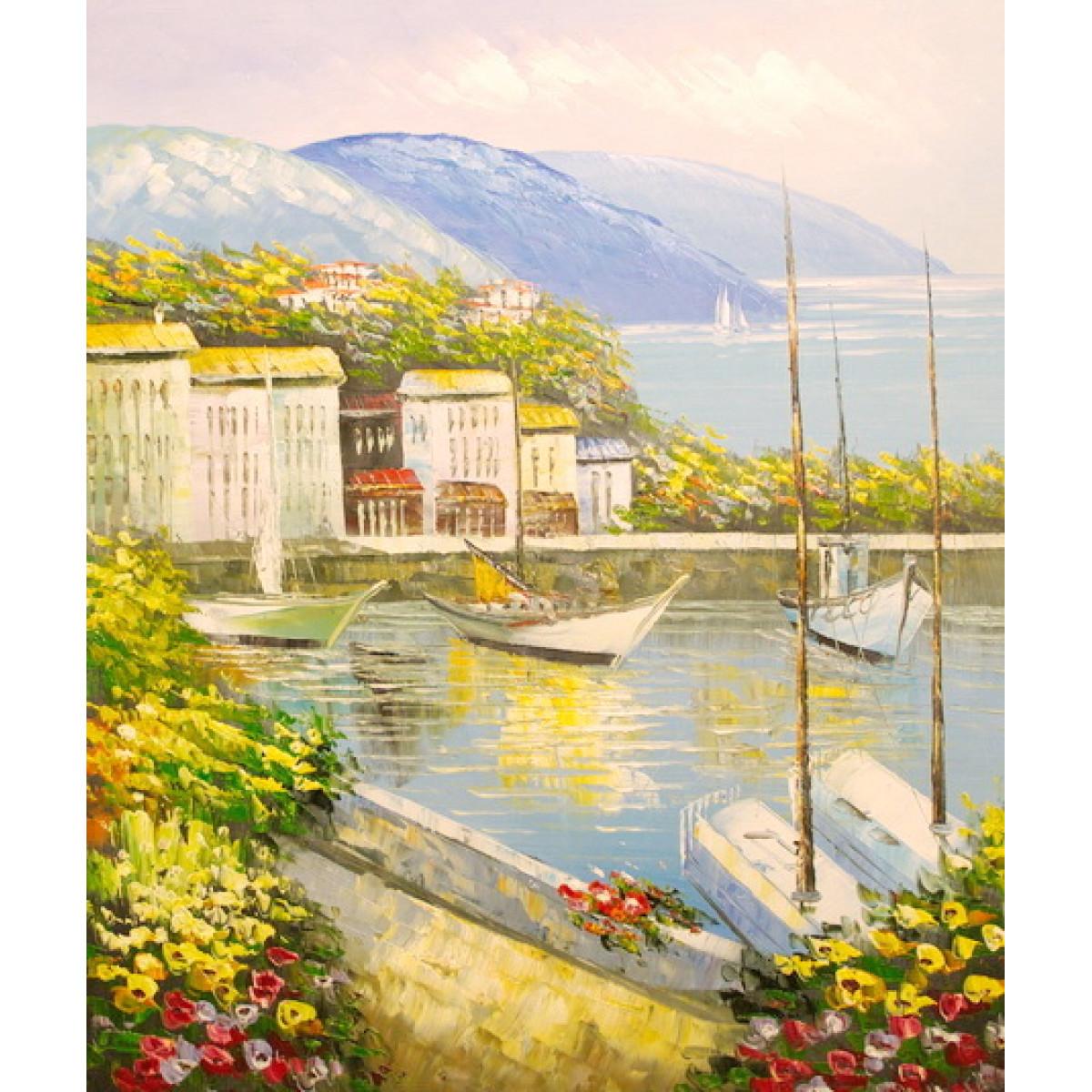 """Картина """"Италия. Вид на бухту"""" , холст, масло, 50х60см"""