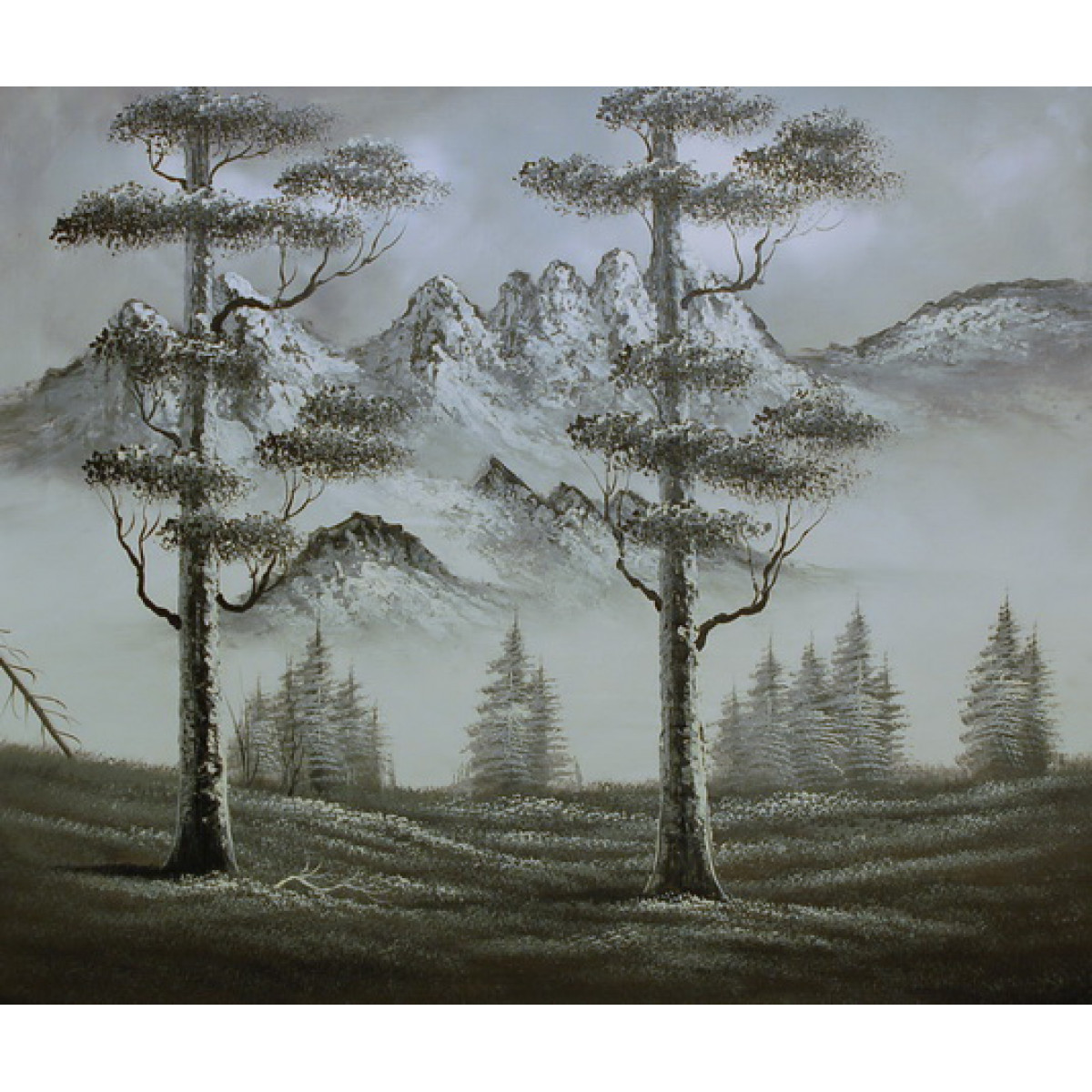 "Картина""Черно-белый пейзаж"" холст, масло, 50х60см"