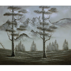 "Картина  ""Черно-белый пейзаж"" холст, масло, 50х60см"