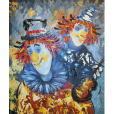 "Картина  ""Клоуны"", холст, масло, 50х60см"