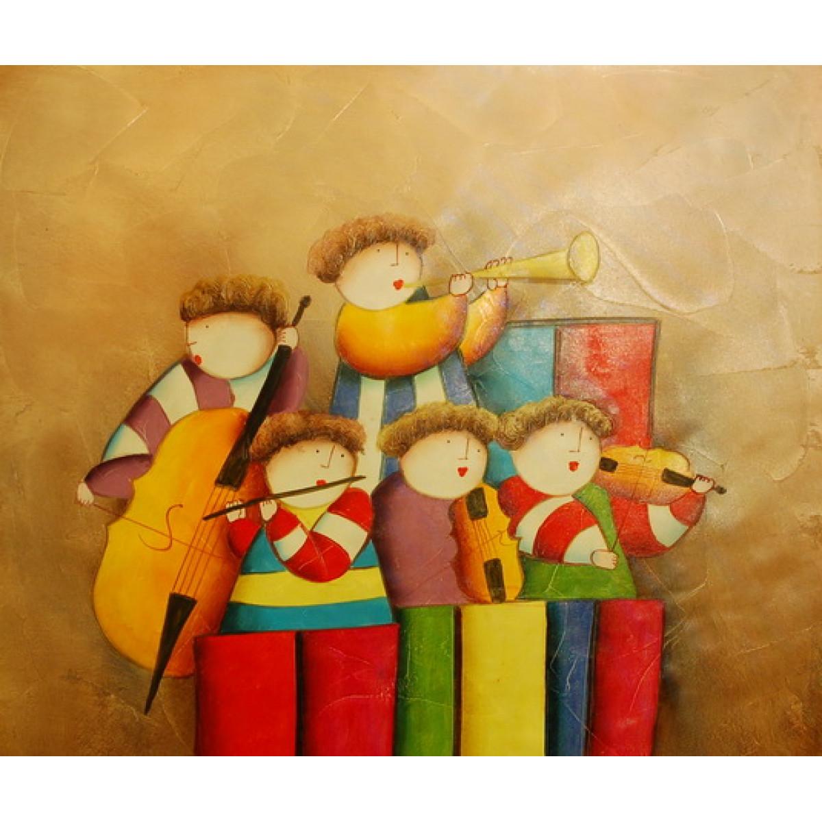 "Картина ""Детский оркестр"", холст, масло, 50х60см"