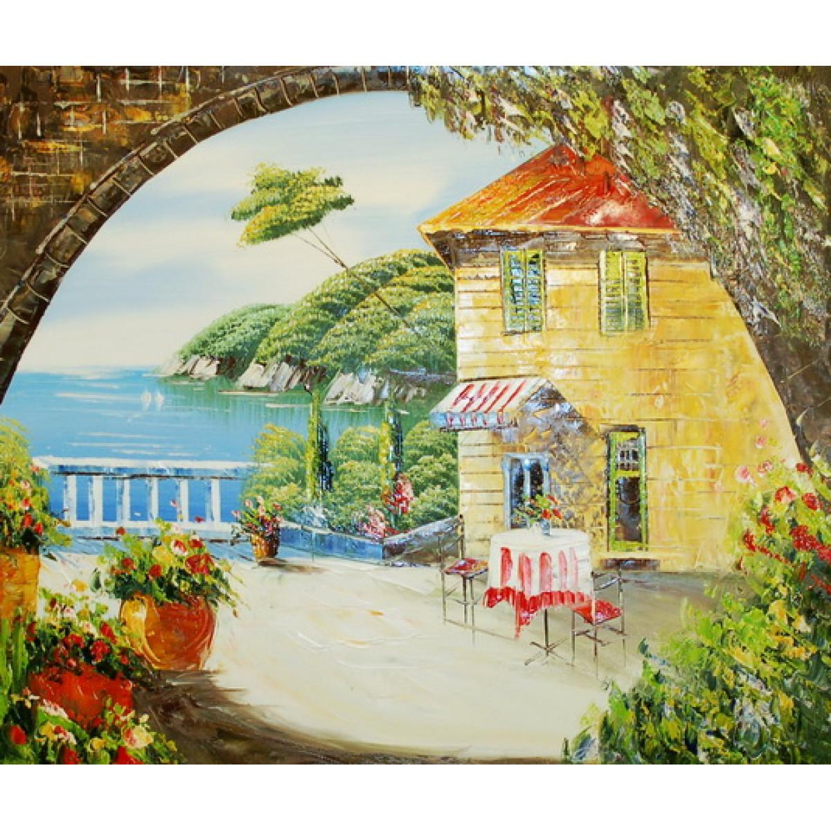 """Картина """"Кафе у моря"""", холст, масло, 50x60см"""