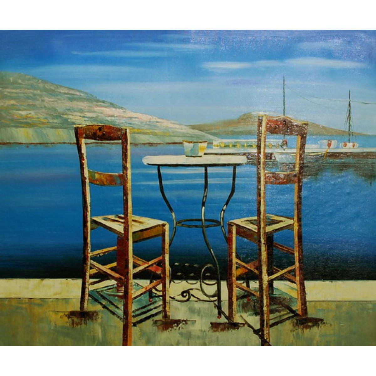 "Картина ""Столик на двоих"", холст, масло, 50х60см"