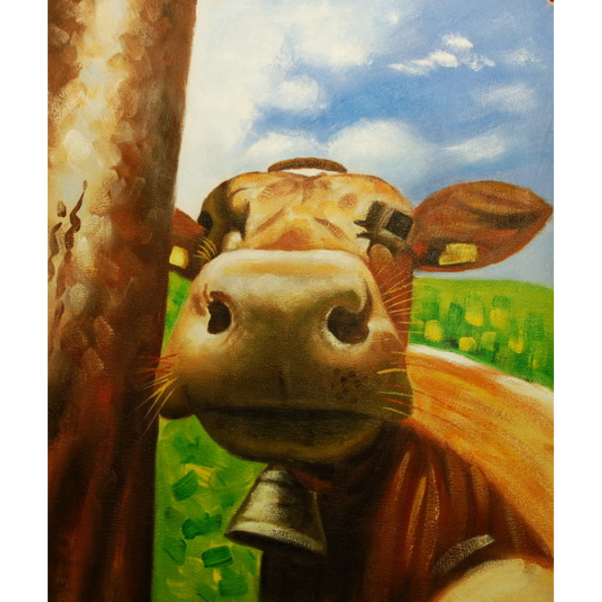 "Картина ""Портрет коровы"", холст, масло, 50х60см"