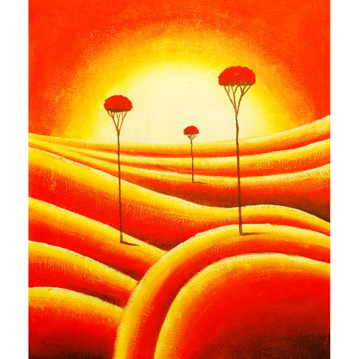 """Картина """"Красные деревья"""", холст, масло, 50x60см"""