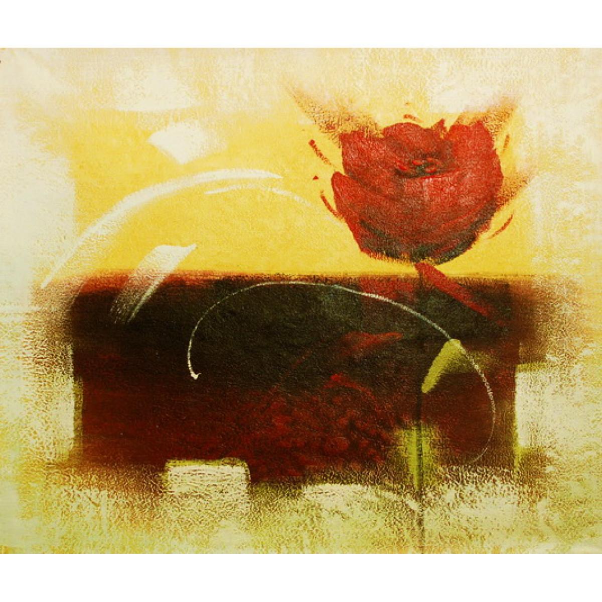 """Картина """"Роза на бежевом фоне"""", холст, масло, 50х60см"""