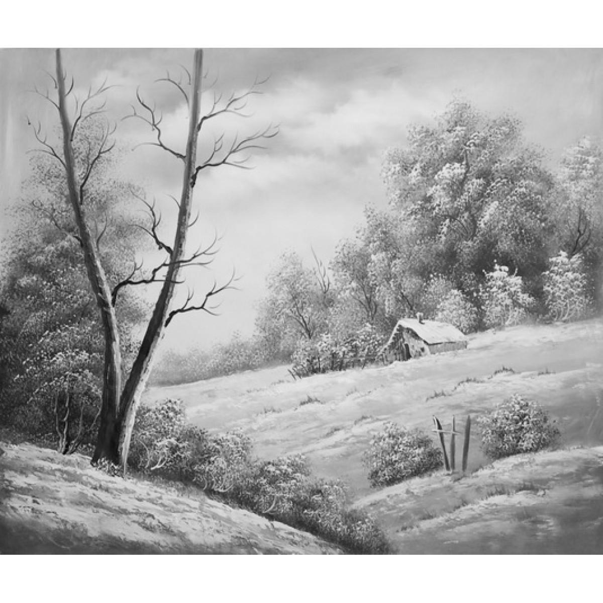 "Картина ""Зимний домик"" , холст, масло, 50x60см"