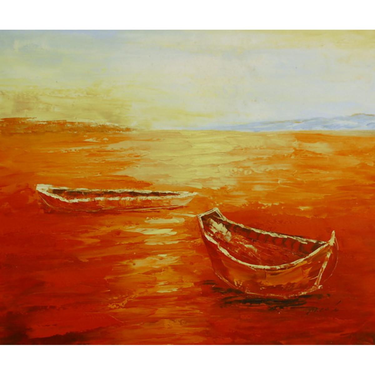 """Картина """"Лодки на закате"""", холст, масло, 50х60см"""