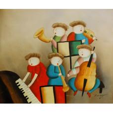 "Картина  ""Маленький оркестр"", холст, масло, 50х60см"