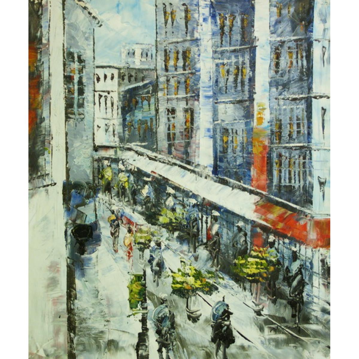 "Картина ""Шумный Париж"" холст, масло, 50х60см"