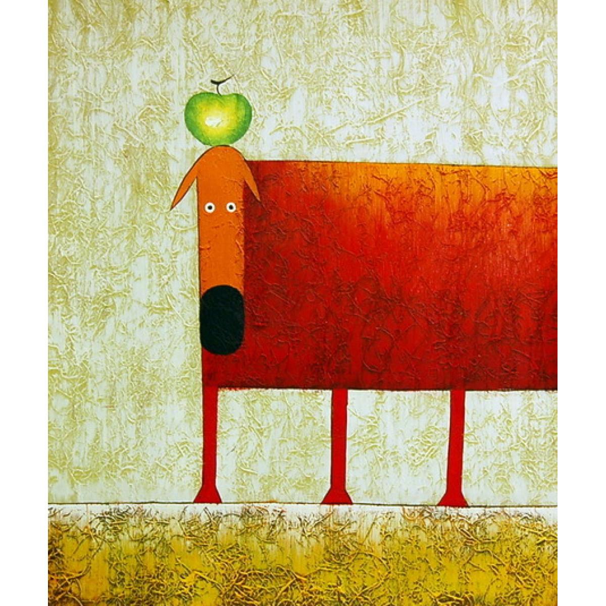 """Картина """"Алая собака с зелёным яблоком"""" , холст, масло, 50x60см"""