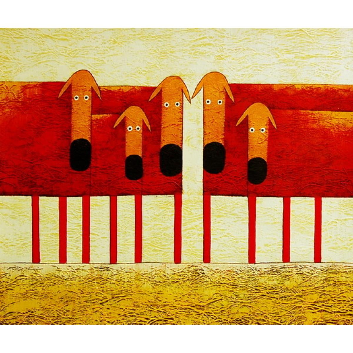 """Картина """"Красные собаки"""", холст, масло, 50х60см"""