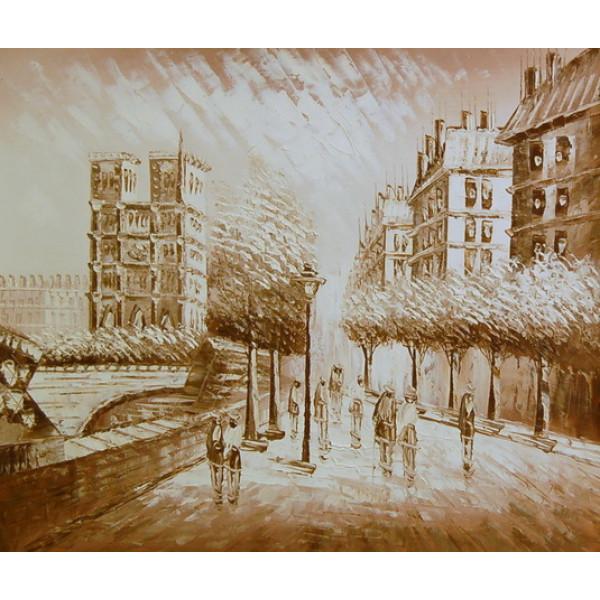 """Картина  """"Париж в бежевых тонах"""", холст, масло, 50х60см"""