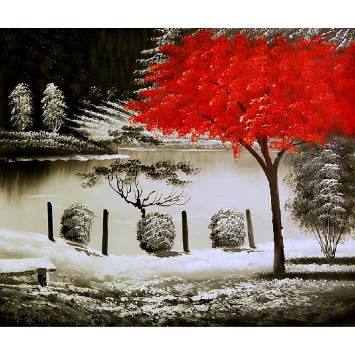 "Картина ""Красное дерево в лесу"", холст, масло, 50х60см"