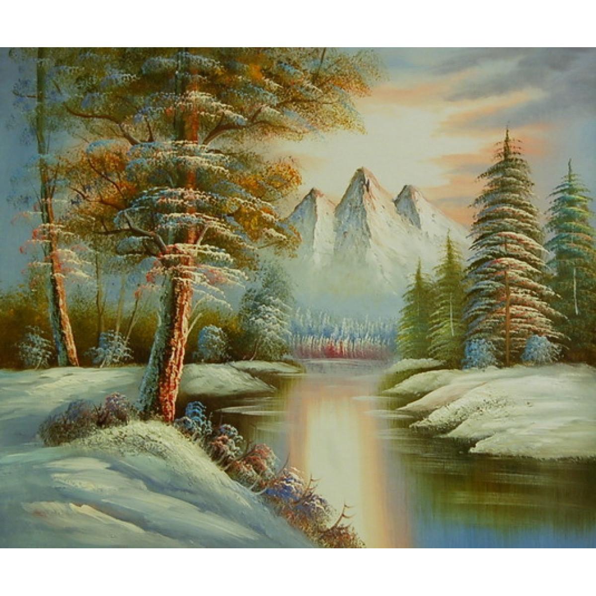 """Картина """"Зимняя река"""", холст, масло, 50х60см"""