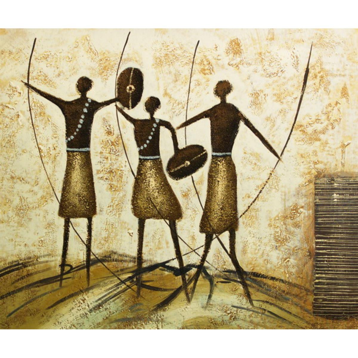 """Картина """"Африканские воины"""" Холст, масло, 50х60см"""