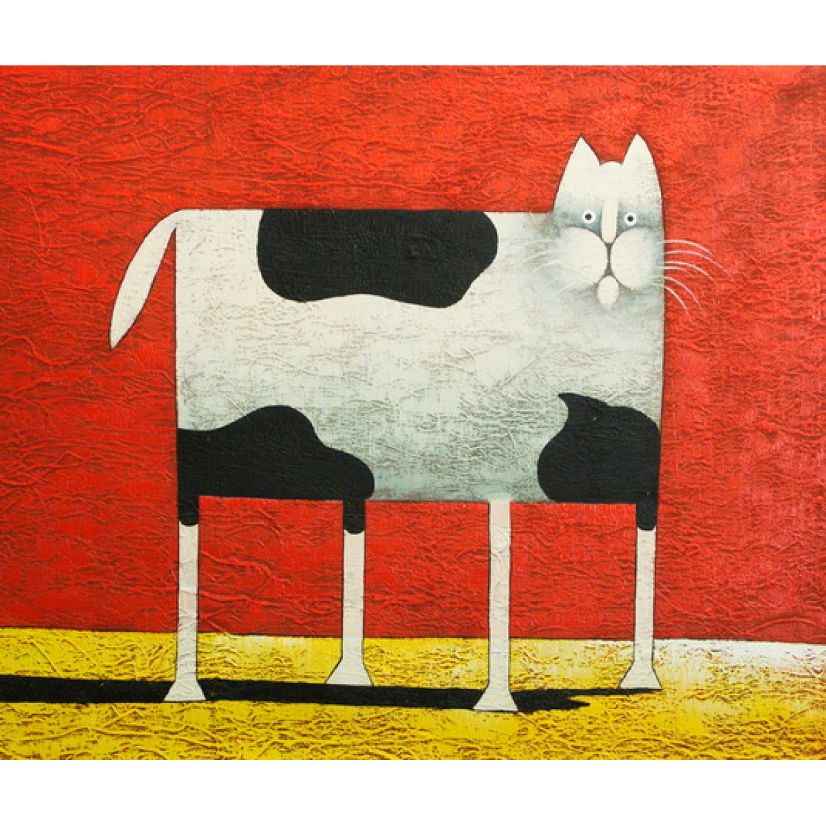 "Картина ""Черно-белый кот"", холст, масло, 50х60см"