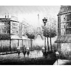 "Картина ""Черно-белый Париж 2"" , холст, масло, 50х60см"