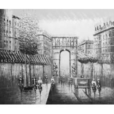 "Картина ""Черно-белый Париж 3"" , холст, масло, 50х60см"