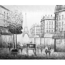 """Черно-белый Париж 4"" , холст, масло, 50х60см"