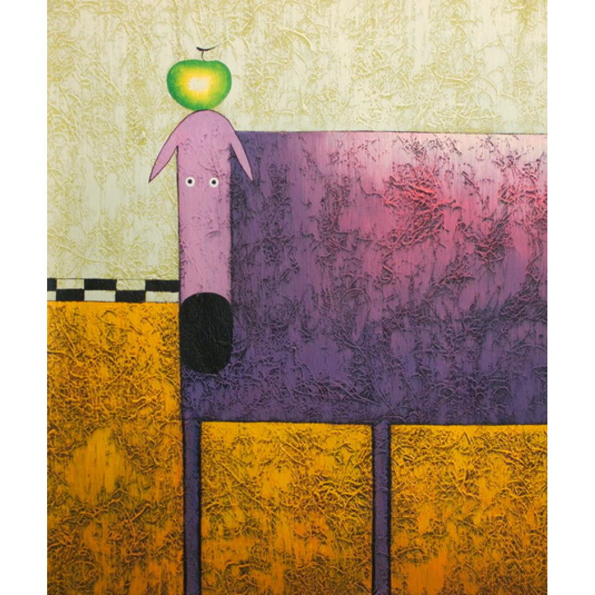 """Картина """"Фиолетовая собака с зелёным яблоком"""", холст, масло, 50х60см"""
