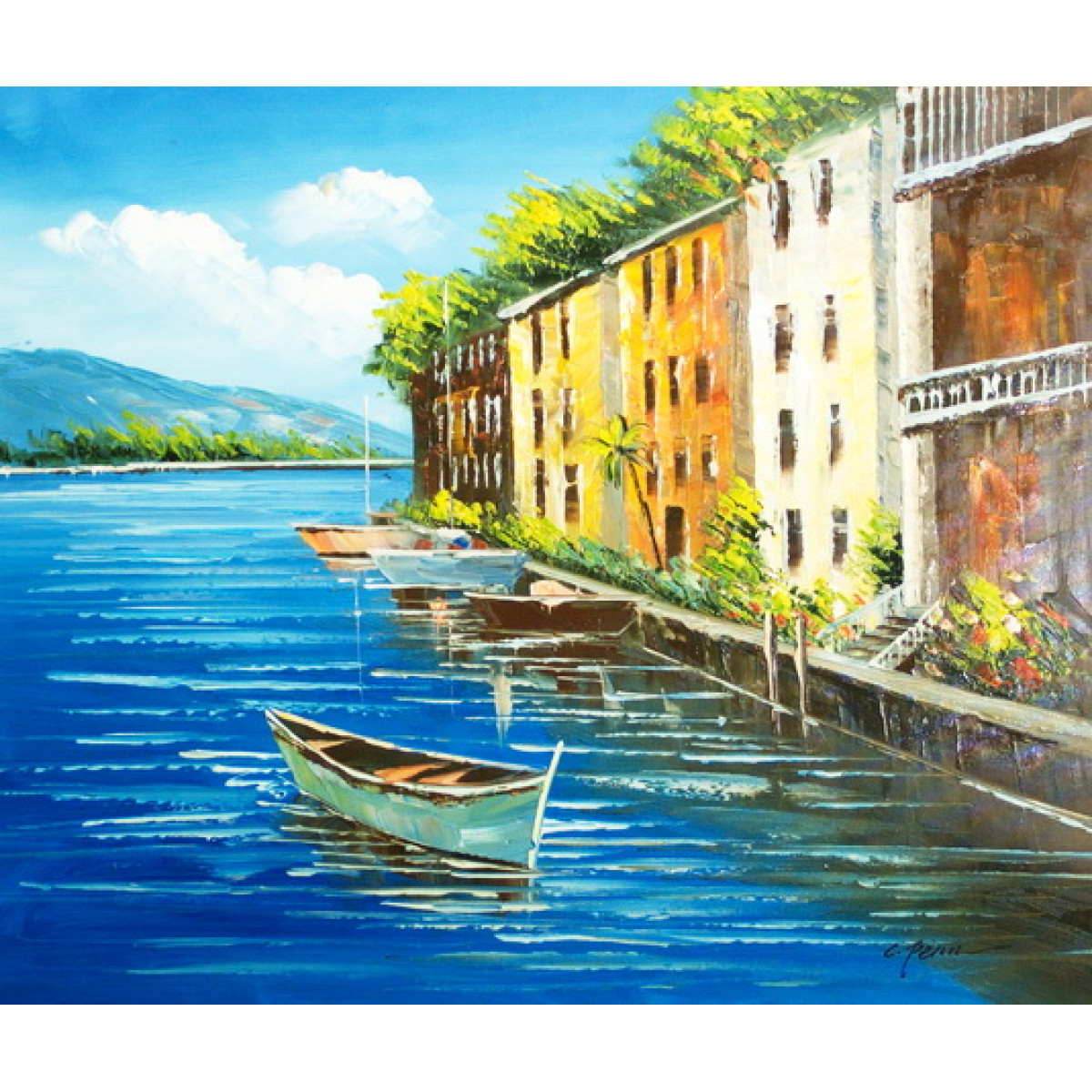 "Картина ""Городок у озера"" , холст, масло, 50x60см"