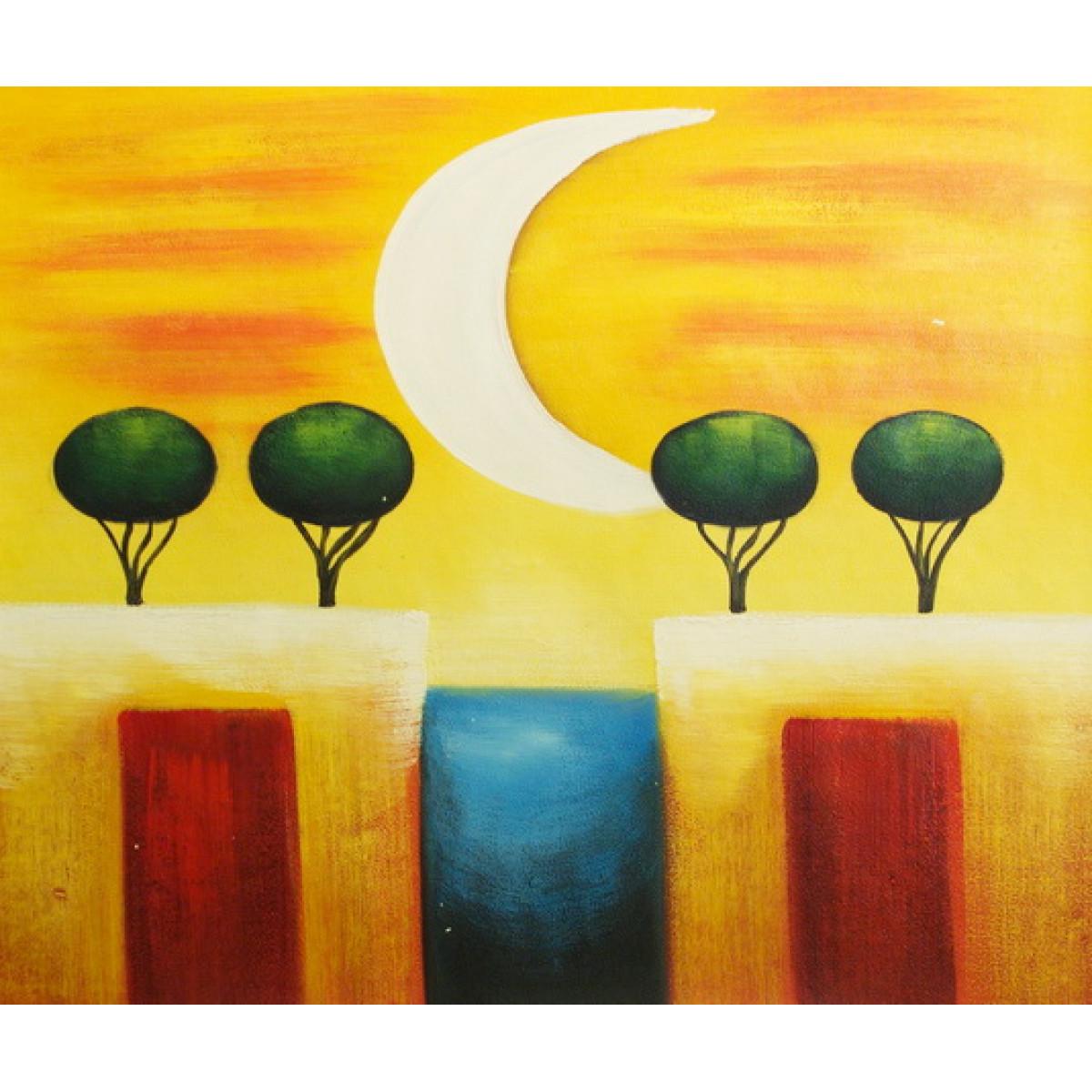 "Картина ""Луна и деревья"", холст, масло, 50x60см"